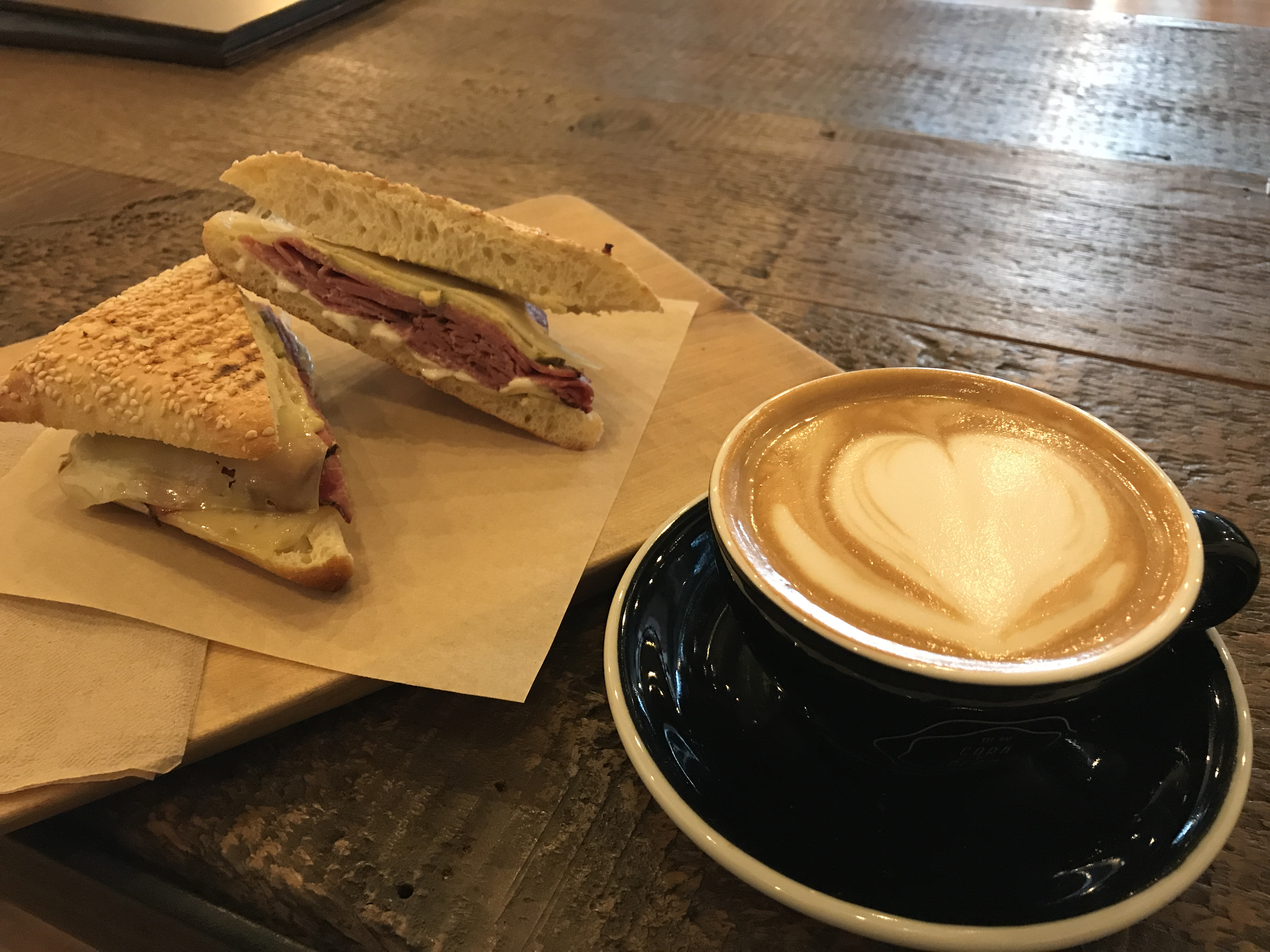 Sandwich and cup of coffee