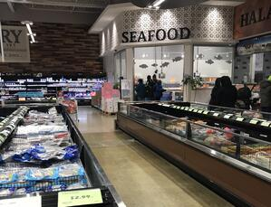 seafood section of Blue Sky Supermarket