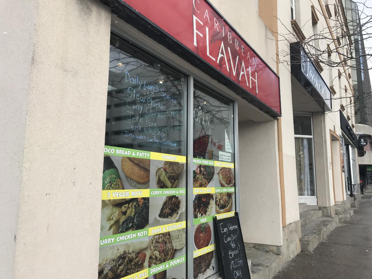 Outside Caribben Flavah restaurant