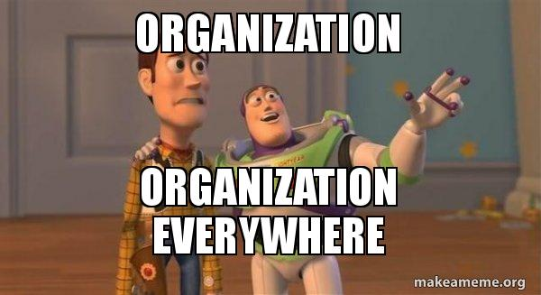 toy story's buzz tells woody there's organization everywhere