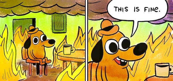 a cartoon dog sits calmly in a room that's on fire