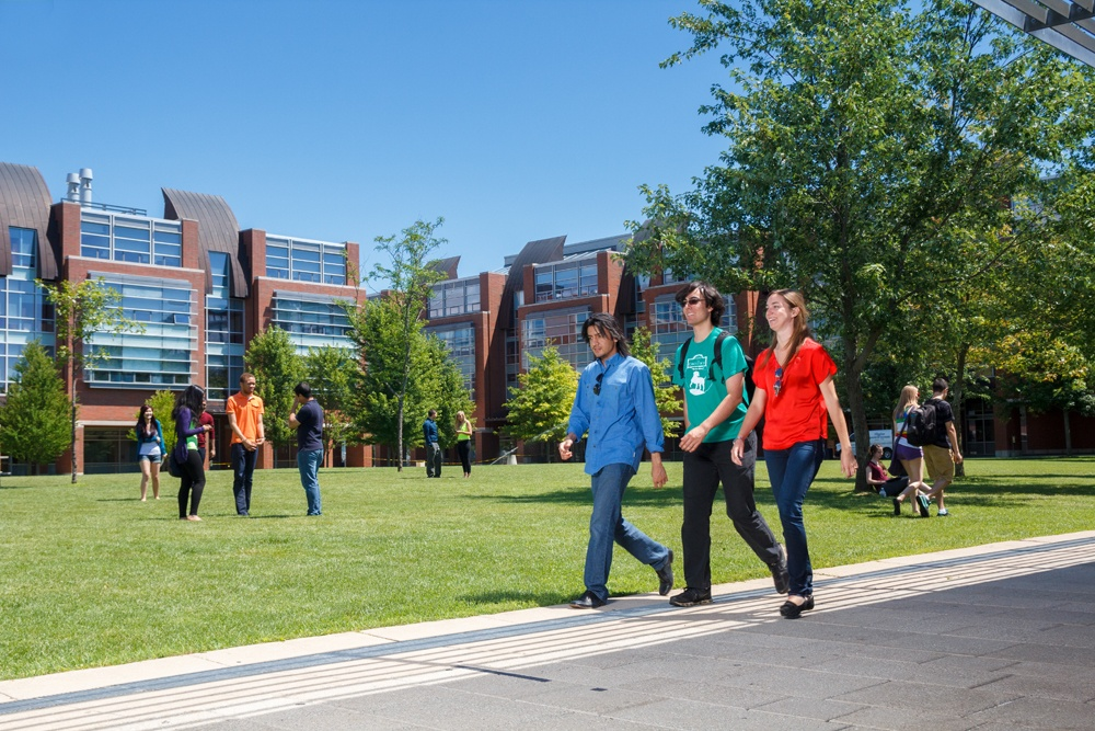 students walking at North campus location