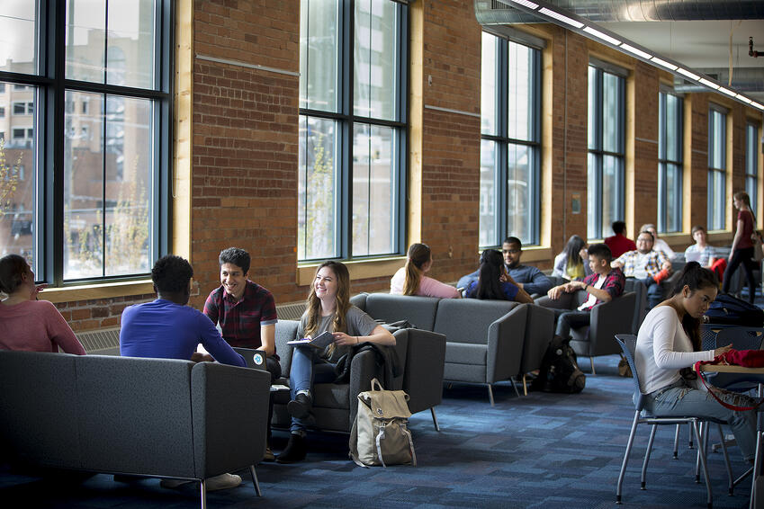 Student studying at 61 Charles