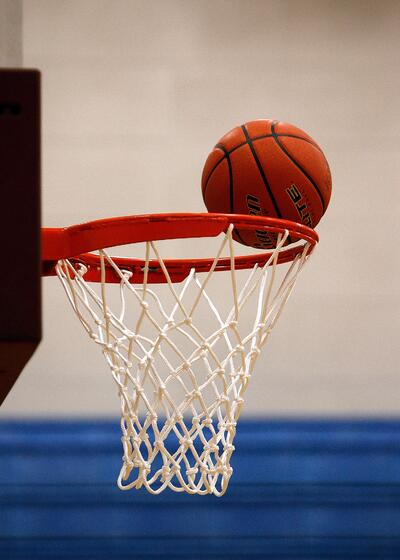 basketball going in hoop
