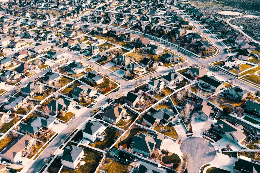 aerial shot of a subdivision.