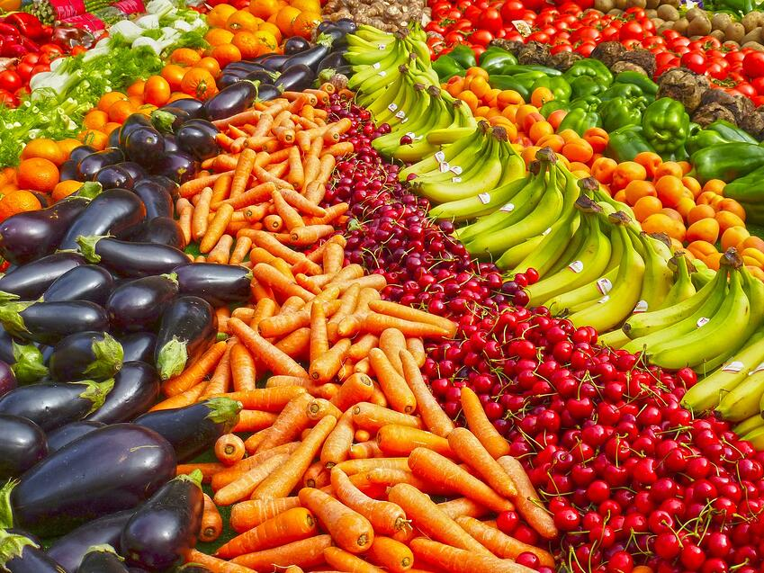 colourful fruit and vegetables