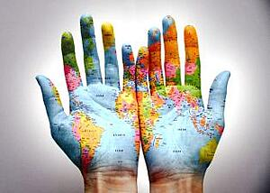 map painted on hands