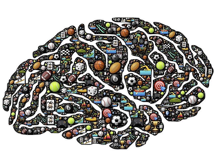 graphic of brain filled with smaller images of sports