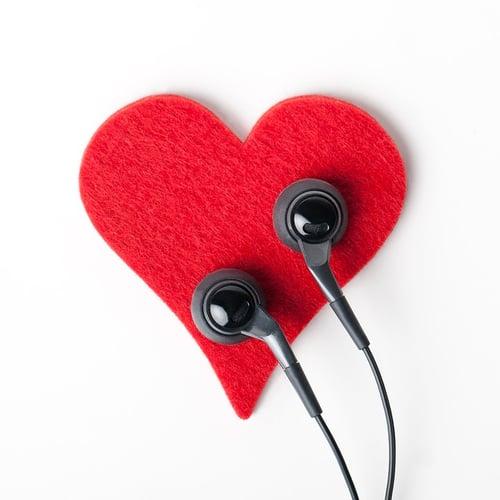 ear buds on a felt heart