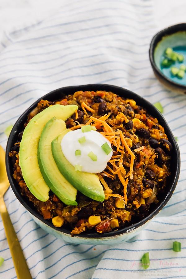 Bowl of quinoa chili.